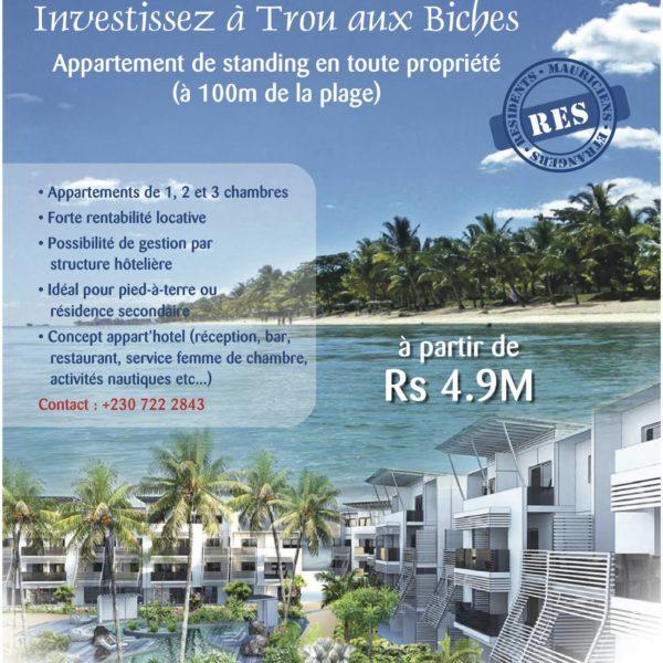 Investir à l'île Maurice vente appartement en RES à Grand baie trou aux Biches